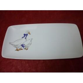 PLAT RECTANGULAIRE SAHARA DECOR OIES 36x18cm en porcelaine