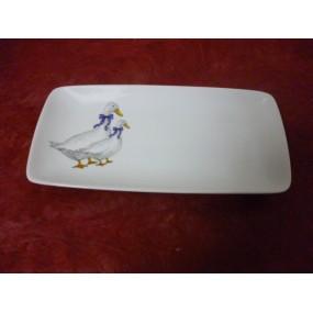 PLAT A CAKE SAHARA  25x12cm en porcelaine décor OIES
