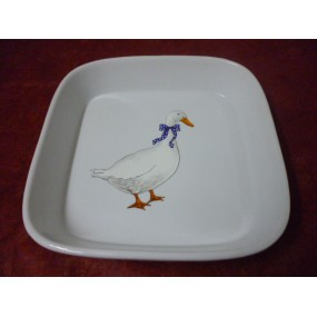 PLAT A FOUR CARRE 26cm x 26cm en porcelaine DECOR OIES