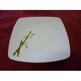ASSIETTE PLATE carrée SAHARA DECOR BAMBOU en porcelaine