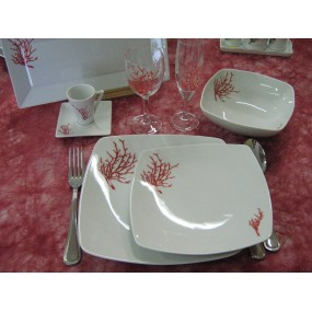 SERVICE DE TABLE 18 pcs  Décor CORAIL Modèle SAHARA  en PORCELAINE