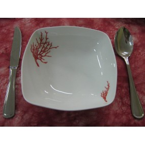 ASSIETTE CREUSE CARREE SAHARA DECOR CORAIL  en porcelaine