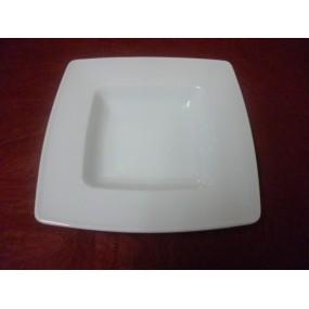 ASSIETTE CREUSE CARRE VISTORIA en porcelaine blanche