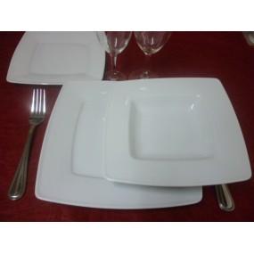 SERVICE DE TABLE Assiettes carrées 18 pièces en Porcelaine blanche