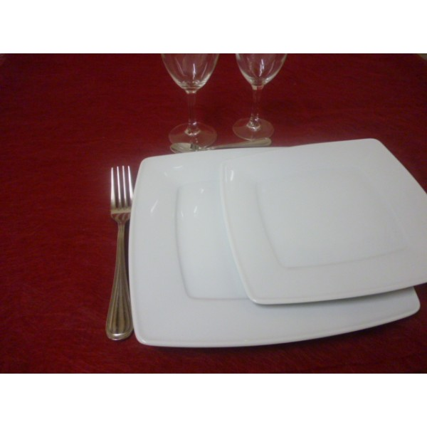 Service De Table Assiettes Carr Es 18 Pi Ces En Porcelaine