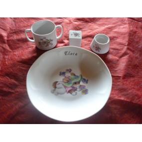SERVICE 4 Pièces LAPIN VERT n°7 en porcelaine