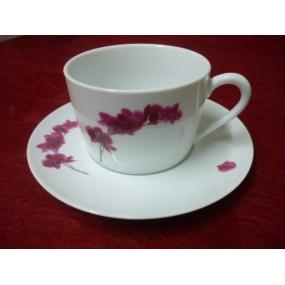DEJEUNER Empire décor Orchidée avec soustasse 45 cl en porcelaine