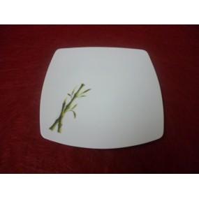 ASSIETTE A DESSERT carrée SAHARA DECOR BAMBOU  en porcelaine