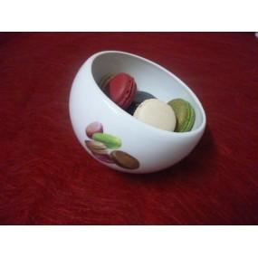 BOL A MACARONS ou A BONBONS  Grand modèle en Porcelaine Décor Macarons