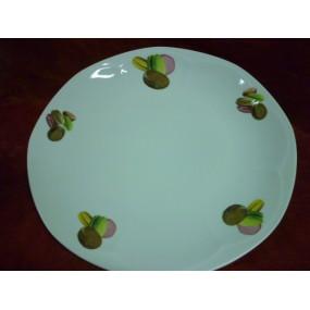 PLAT ROND PLAT DECOR MACARONS 32cm JASTRA en porcelaine