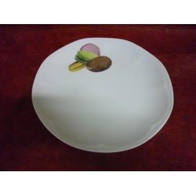 ASSIETTE A DESSERT JASTRA DECOR MACARONS en porcelaine