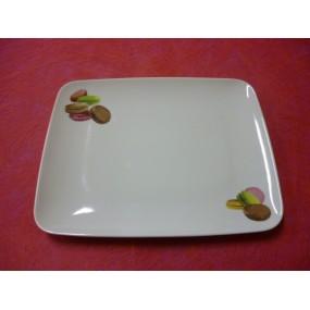ASSIETTE PLATE MIKADO DECOR MACARONS en porcelaine