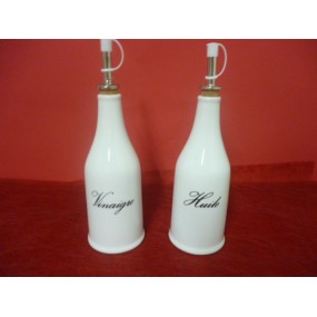 DUO HUILE et VINAIGRE forme bouteille en porcelaine DECOR Huile Vinaigre