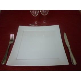 PLAT CARRE ou ASSIETTE HOTESSE LOOK 30X30  en porcelaine blanche