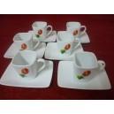 Service à café 6 TASSES carrées 11cl et soustasse en porcelaine decor Anthurium