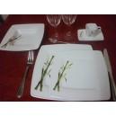 SERVICE DE TABLE 32 pièces Assiettes et tasse carrées  en Porcelaine décor BAMBOU