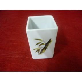 GOBELET porte dentifrice ou VERRE A DENT carré Dcor BAMBOU en porcelaine