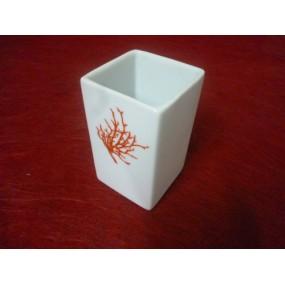 GOBELET ou VERRE A DENT carré Décor CORAIL en porcelaine