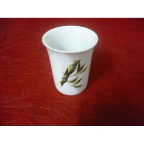 GOBELET ou VERRE A DENTS ROND DECOR BAMBOU en porcelaine