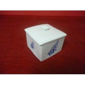 POT ou BOITE CARREE ou sucrier en porcelaine décor Bleu LUISA