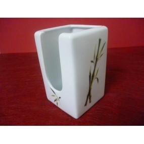 POT A COTON DEMAQUILLEUR CARRE DECOR BAMBOU en porcelaine