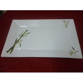 PLAT RECTANGULAIRE DECOR BAMBOU  Gd modele JAPAN en porcelaine