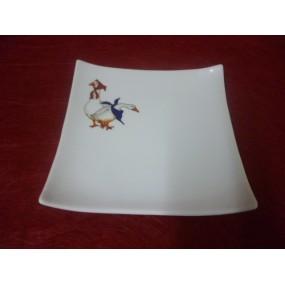 ASSIETTE A FOIE GRAS CARREE DESIGN 20x20 en porcelaine blanche