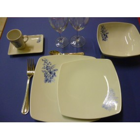SERVICE DE TABLE 18 pcs SAHARA décor bleu LUISA en PORCELAINE