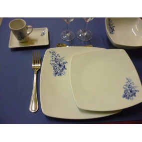 SERVICE DE TABLE 24 pcs SAHARA décor bleu LUISA en PORCELAINE