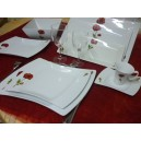 SERVICE DE TABLE 52 pcs OCEANE DECOR COQUELICOT en PORCELAINE