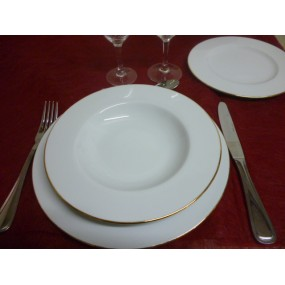 ASSIETTE CREUSE A AILE HELENE DECOR 1 FILET OR en Porcelaine