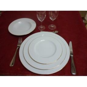 SERVICE DE TABLE 24 Assiettes décor 1 FILET OR en PORCELAINE
