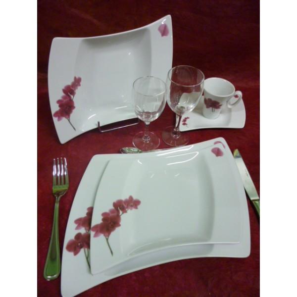 Service de table vaisselle en porcelaine centre vaisselle porcelaine blanche et d cor e - Carrefour vaisselle de table ...