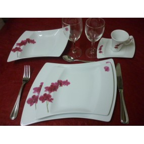 SERVICE DE TABLE 24 pcs OCEANE DECOR ORCHIDEE en PORCELAINE