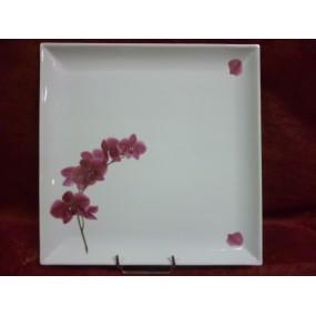 PLAT CARRE PLAT  décor  ORCHIDEE en porcelaine
