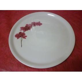 PLAT A TARTE / Pizza / fromage 30cm decor ORCHIDEE en porcelaine