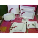 SERVICE DE TABLE 52 pcs OCEANE DECOR ORCHIDEE en PORCELAINE