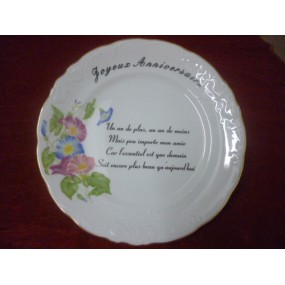 ASSIETTE ANNIVERSAIRE en Porcelaine Fryderyka en porcelaine Filet Or