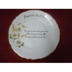 ASSIETTE JOYEUSE RETRAITE en Porcelaine Décor Paquerettes avec filet OR