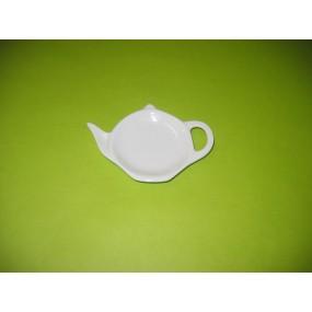 REPOSE SACHET A THE forme théiere en porcelaine blanche