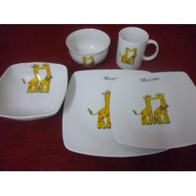 SERVICE 5 Pièces 3 ASSIETTES carrées + BOL + MUG DECOR GIRAFE en porcelaine
