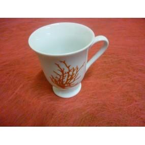 TASSES A CAFE OU MAZETTE LOUISE  10cl seule en porcelaine décor CORAIL