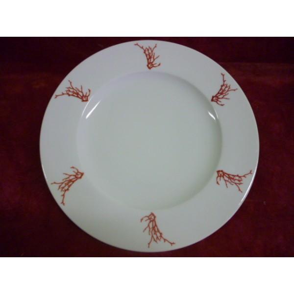 assiette plate a aile decor corail en porcelaine mod le helene centre vaisselle sarl la. Black Bedroom Furniture Sets. Home Design Ideas