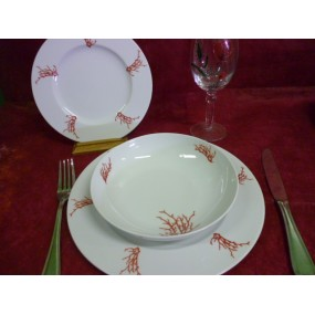 SERVICE DE TABLE 18 Assiettes HELENE décor CORAIL en PORCELAINE