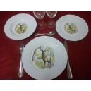 SERVICE DE TABLE 18 Assiettes California décor Chasse en PORCELAINE de LIMOGES Deshoulières