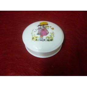 BOITE à bijoux ronde Narcisse diam 10cm ou bonbonière décor FILLE ROSE en PORCELAINE