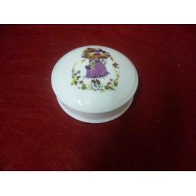 BOITE à bijoux ronde Narcisse diam 10cm ou bonbonière décor FILLE PARME en PORCELAINE