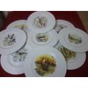 SERVICE  8 Assiettes plates Modèle HELENE en porcelaine décors  CHASSE