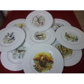 SERVICE  6 Assiettes plates Modèle HELENE en porcelaine décors  CHASSE