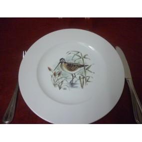 ASSIETTE PLATE décor BECASSE en Porcelaine modèle HELENE